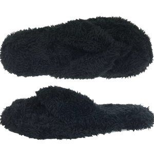 NEW Dearfoams Fuzzy Terry Black Thong Slippers